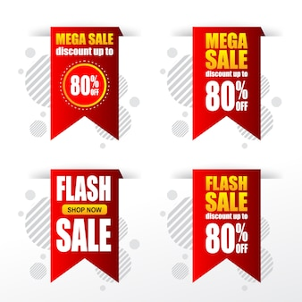 Set of sale discount banner tags