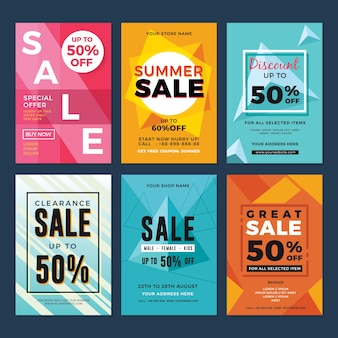 Set of sale and discount flyers