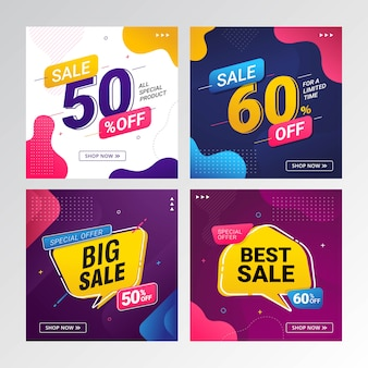 Set of sale discount offer price banner