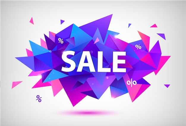 Set of sale faceted geometric banners, posters, cards. abstract discount shapes. use for advertising, web