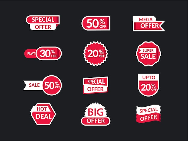 Set of sale label, tag or sticky layout with best discount offers on black background.