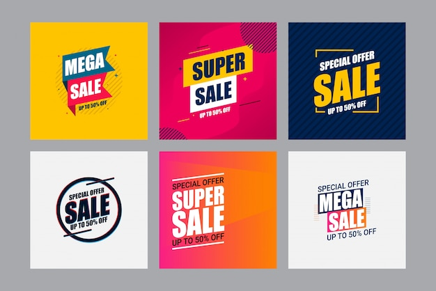 Set sale modern banner design template. up to 50% off.