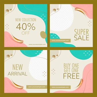 Set of sale poster or template design in abstract style.