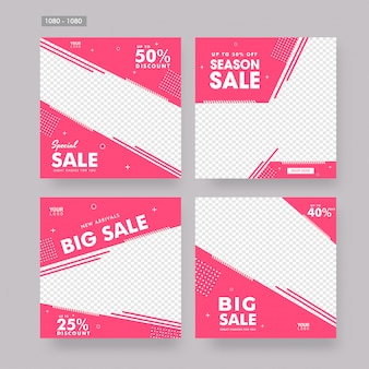 Set of sale poster or template design in flat style with differe