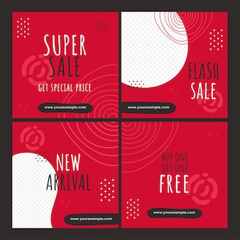 Set of sale poster or template design in red and white color.