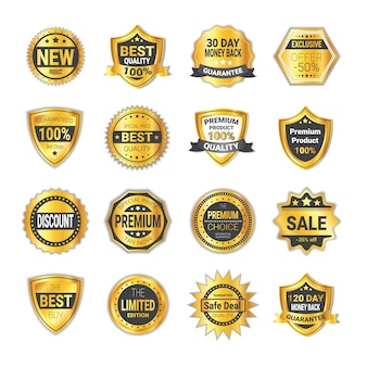 Set of sale and quality badge golden shields isolated