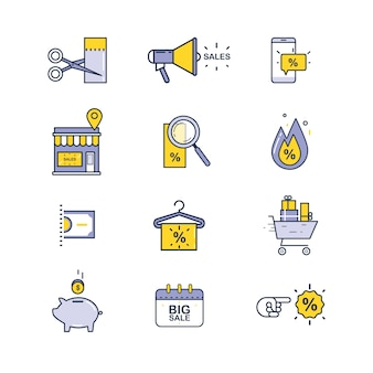 Set of sale and shopping icons