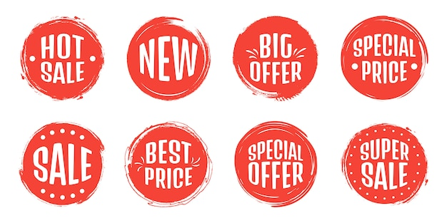 Set of sale tag tags. grunge stamps, badges and banners. premium quality guarantee, best seller, best choice, sale, special offer. banners and stickers.
