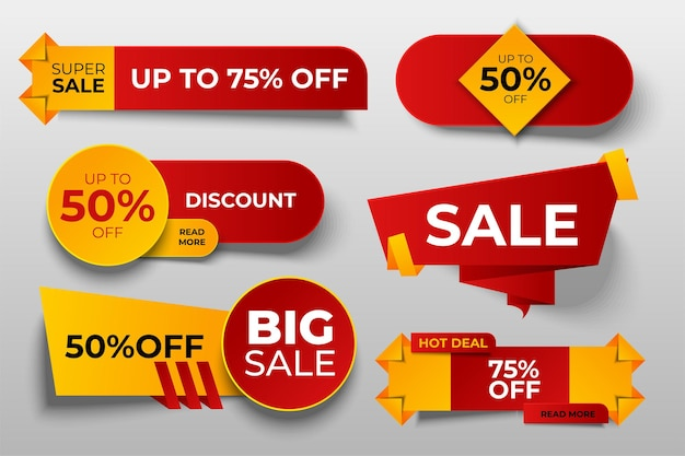 Set of sale tags or banners, special offer headers, discount stickers.