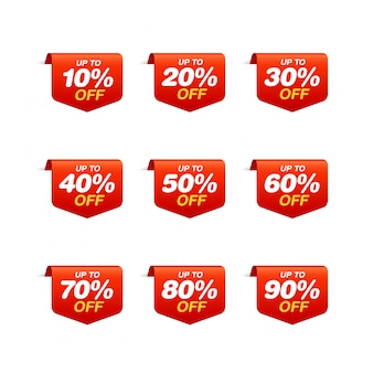 Set of sale tags. bookmark discount stickers pack