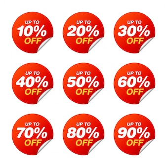 Set of sale tags. discount stickers pack