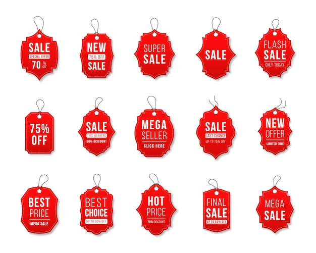 Set of sale tags and labels template shopping labels