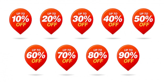 Set of sale tags. red pin. discount stickers pack
