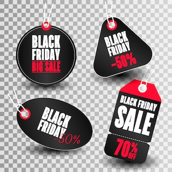Set of sale tags with text black friday