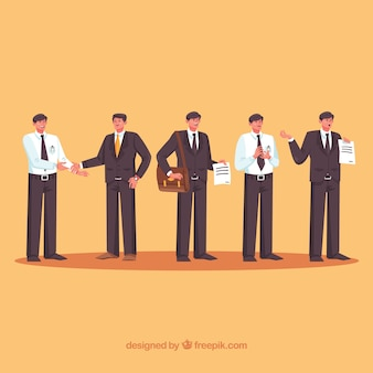 Set of salesman characters with flat design