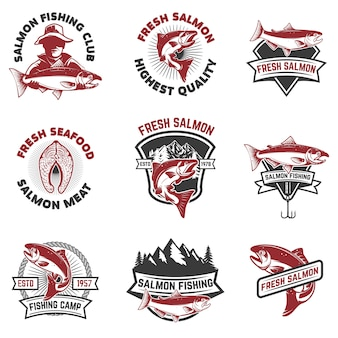 Set of salmon fishing emblems.  elements for , label, sign.  illustration.