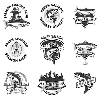 Set of salmon fishing emblems. seafood.  elements for , label, sign, brand mark.  illustration