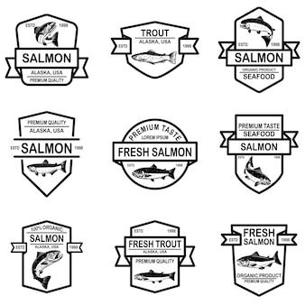 Set of salmon trout fish labels