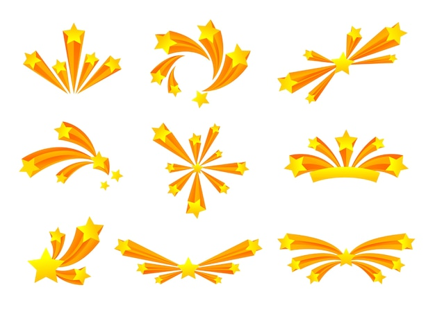 Set of salute of various forms with golden stars.  illustration on white background.