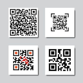 Set of sample qr codes for smartphone scanning icons