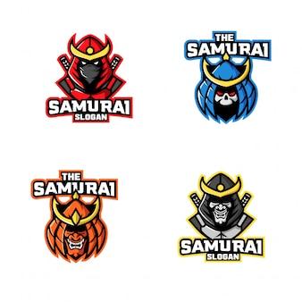 Set of samurai ninja logo