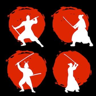 Set of samurai warriors silhouette on red moon