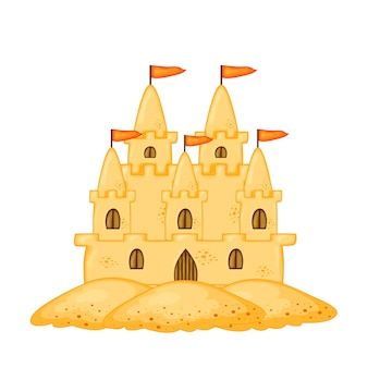 Set of sand castles of different shapes. summer cartoon collection in vector.