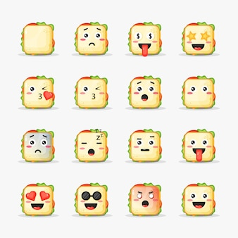Set of sandwich with emoticons