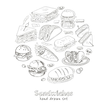 Set of sandwiches in hand drawn