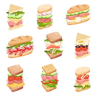 Set sandwiches. in a loaf, square and triangular toasts, with different fillings.  illustration.