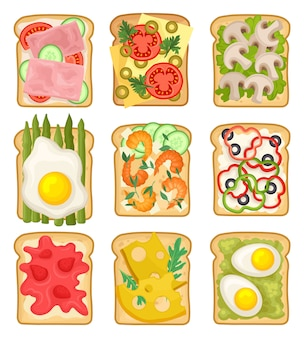 Set of sandwiches with different ingredients. toasted bread slices with ham, strawberry, vegetables, fried and boiled eggs