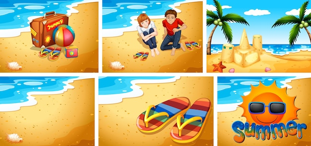 Set of sandy beach background