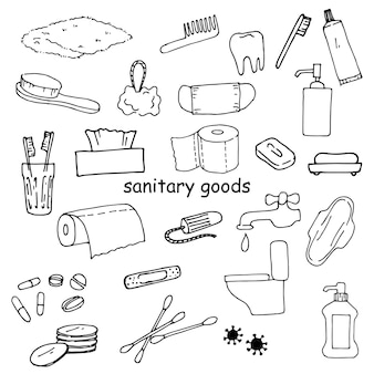 Set of sanitary items hygiene cleanliness and body care