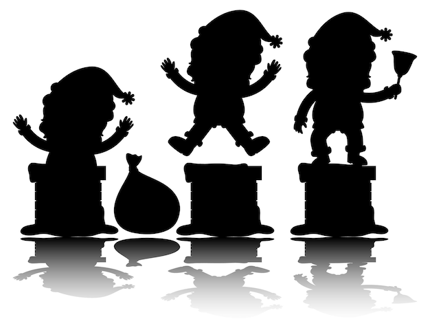 Set of santa claus cartoon character silhouette with reflex