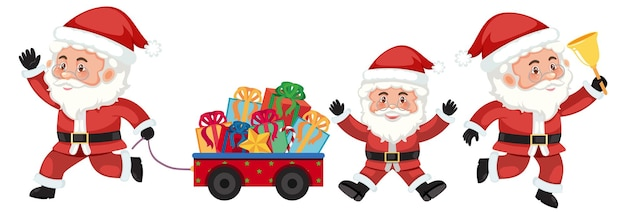 Set of santa claus cartoon character with different positions
