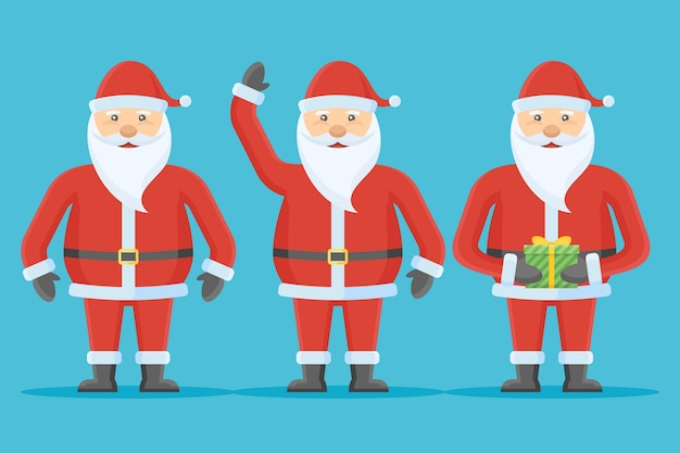 Set of santa claus character in flat style