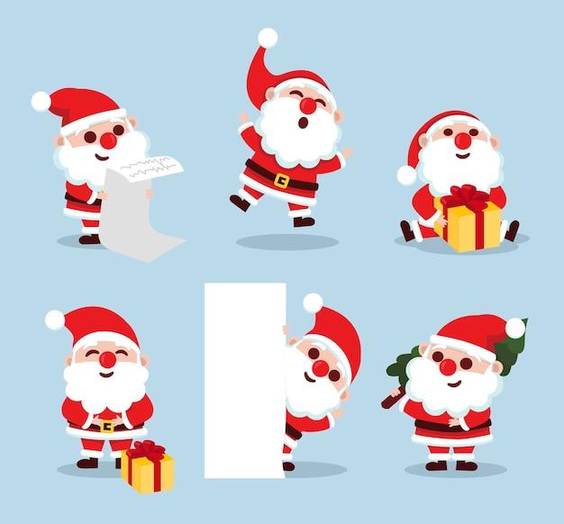 Set of santa claus characters