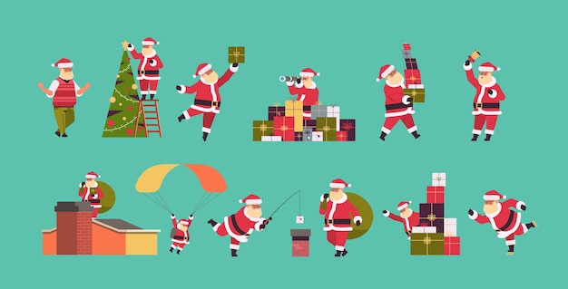 Set santa claus in different poses merry christmas  holiday celebration concept full length horizontal vector illustration