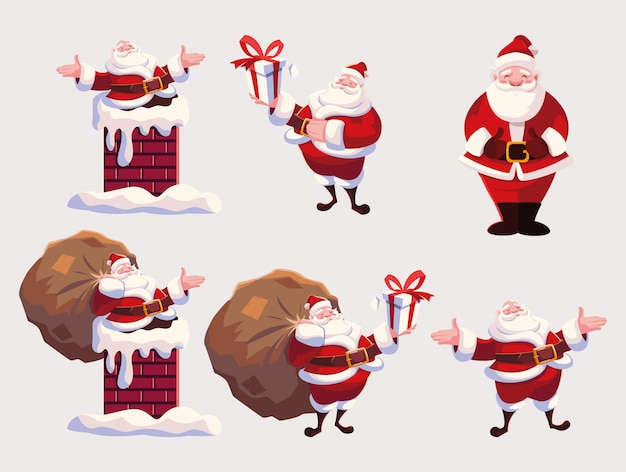 Set of santa claus in different positions