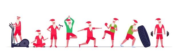 다른 운동을하는 산타 클로스 훈련 운동 건강한 라이프 스타일 개념 크리스마스 새해 휴일을 설정