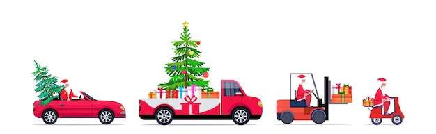 Set santa claus driving red pickup car forklift and scooter with fir tree and gift present boxes merry christmas happy new year winter holidays