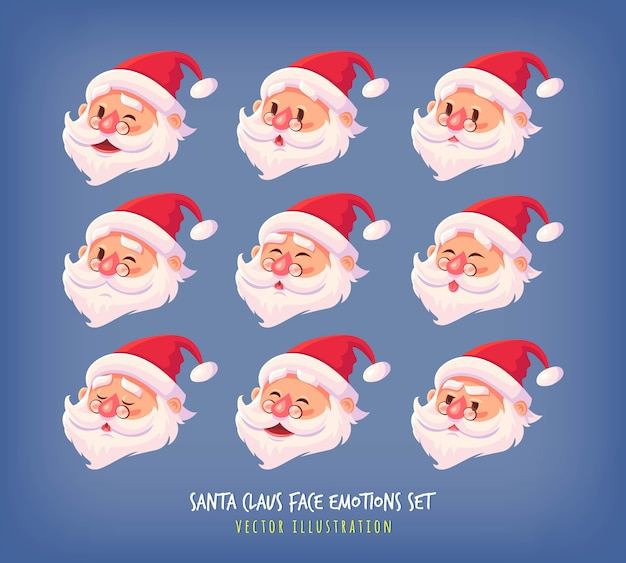 Set of santa claus face emotions icons cute cartoon faces collection merry christmas  illustration