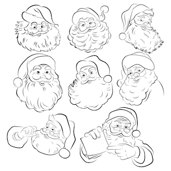 Set of santa claus faces. collection  silhouette of portrait of santa. tattoo.