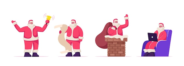 Set of santa claus festive activities. fantasy character holding gifts bag stick out of chimney, ringing bell, reading letter and work on laptop. festive xmas season cartoon flat vector illustration
