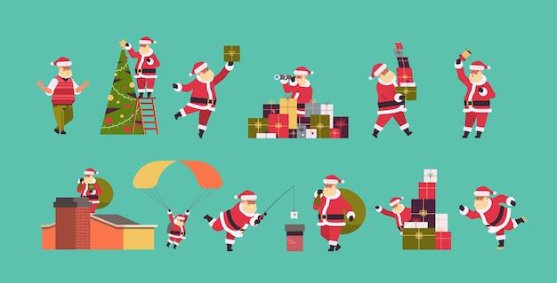 다른 포즈 메리 크리스마스 휴일 축 하 개념 전체 길이 가로 벡터 일러스트 레이 션에 산타 클로스를 설정