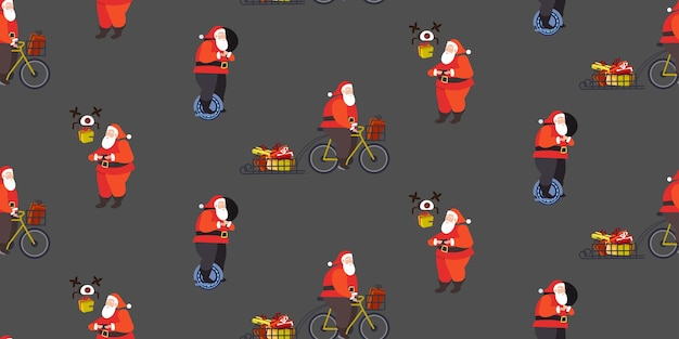 Set santa claus riding mono wheel cycling and controlling drone merry christmas  winter holidays celebration concept seamless pattern horizontal full length