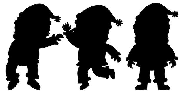 Set of santa claus silhouette cartoon character