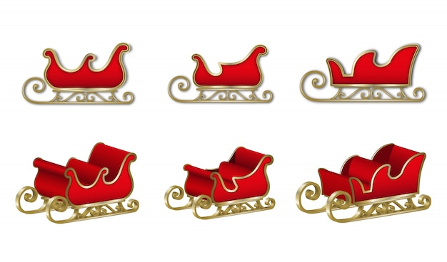 Set of santa claus sleighs. isolated red sleds for christmas decorations