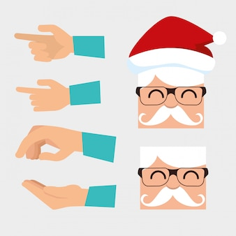 Set of santa claus wearing glasses and hands