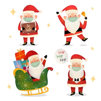 Set of santa claus wearing medical mask